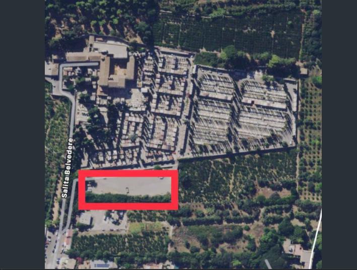 Area di parcheggio del cimitero di S. Maria di Gesù, ipotizzata per la realizzazione dei loculi cimiteriali